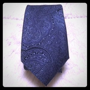 Blue Two tone paisley solid tie